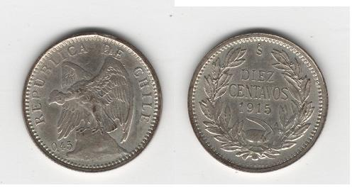 Chile, 10 centavos, 1915 Republ10