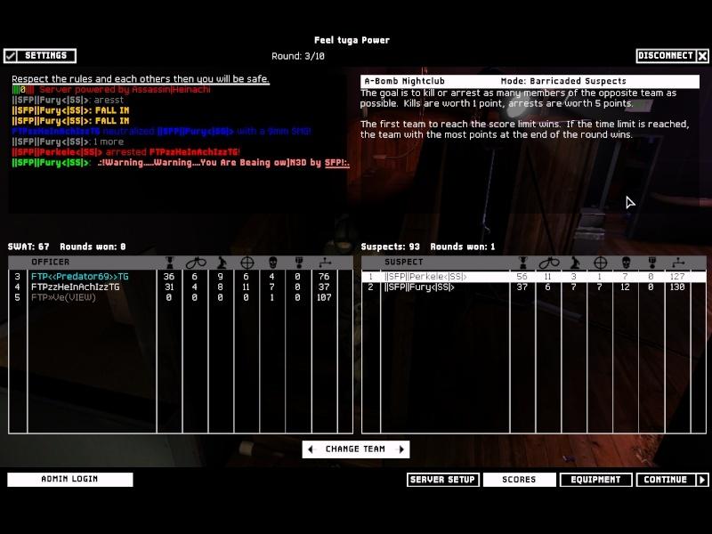 FunWar against FTP 13.12.07 Result won Swat4-15