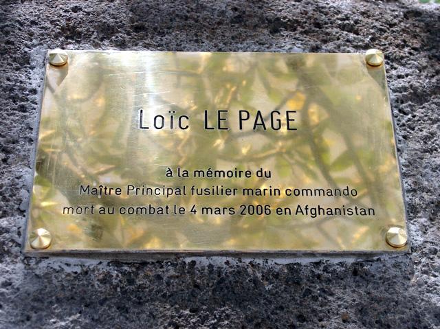LE PAGE Loïc - Maître Principal fusilier marin commando - mort au combat le 4 mars 2006 en Afghanistan Plaque10