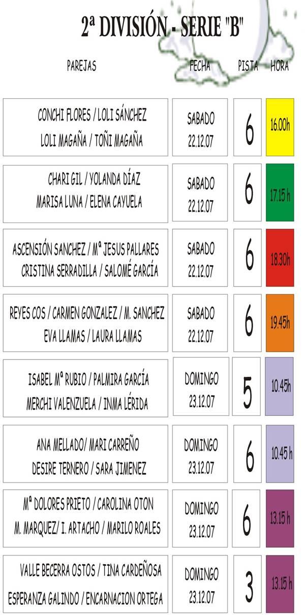 6 JORNADA 22/12 y 23/12 FEMENINA--2 DIVISIÓN-PISTA Y HORA 6_esta10