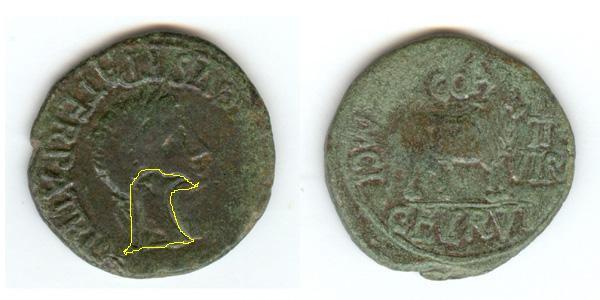 As de Colonia Caesar Augusta, por Tiberio. Marca:aguila Tiberi10