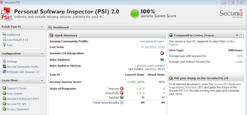 Secunia Personal Software Inspector (PSI) : Contre Les exploits et failles de sécurité dans les logiciels ! Psi_du10