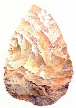 Aquarelles et préhistoire Biface10