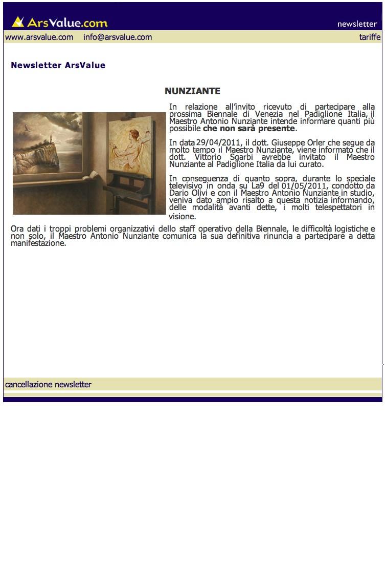 NUNZIANTE NON PARTECIPERA ALLA BIENNALE 01061110