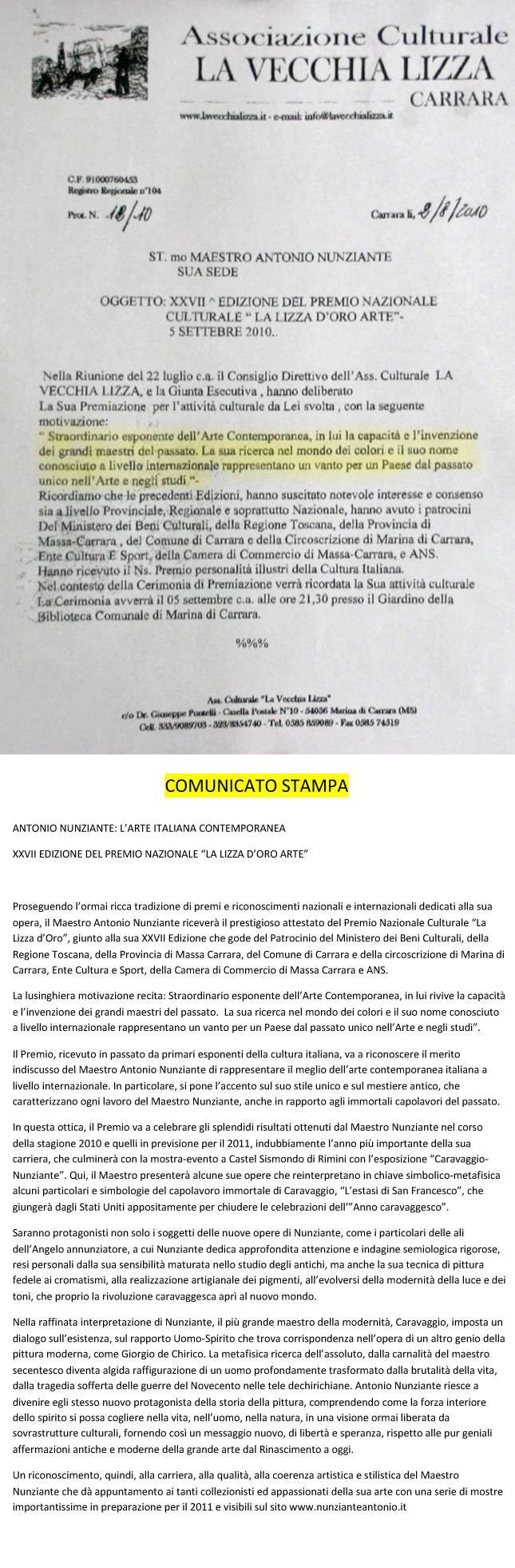 """PREMIO """"La lizza d'oro Arte"""" al Maestro Nunziante 03091010"""