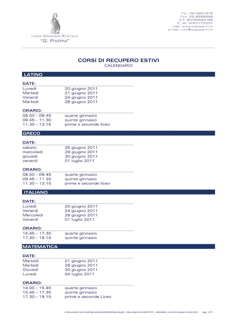 Calendario materie e date per recuperi estivi liceo Parini Recuoe10