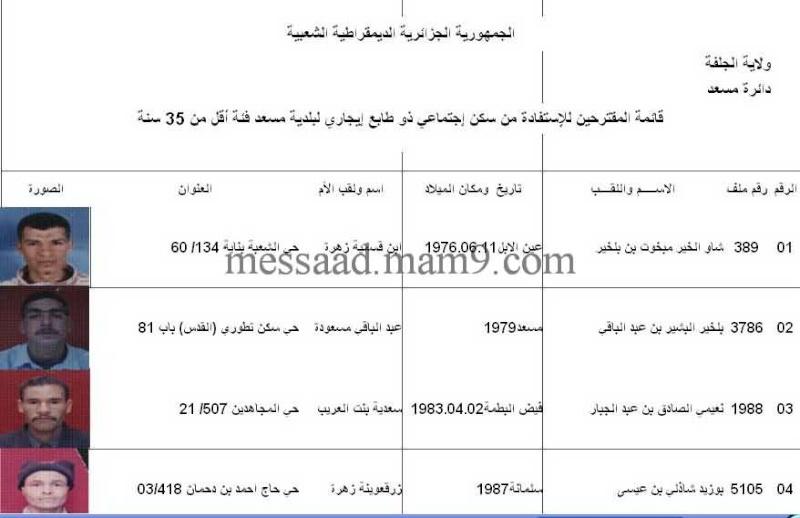 قائمة المستفيدين من السكنات الاجتماعية بلدية مسعد 2011  الفئة الاقل من 35 سنة 0112