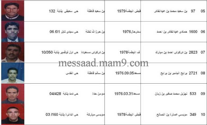 قائمة المستفيدين من السكنات الاجتماعية بلدية مسعد 2011  الفئة الاقل من 35 سنة 0211