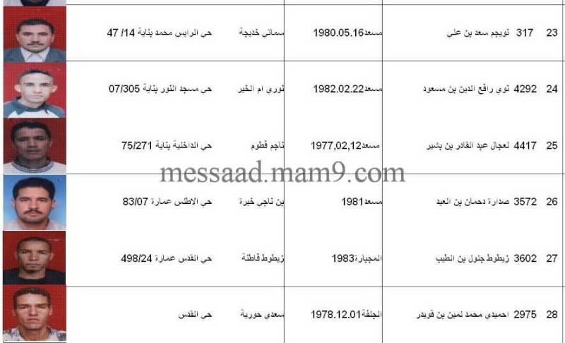 قائمة المستفيدين من السكنات الاجتماعية بلدية مسعد 2011  الفئة الاقل من 35 سنة 0511