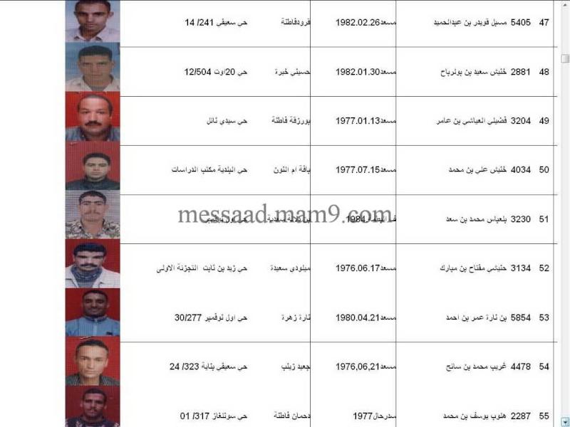 قائمة المستفيدين من السكنات الاجتماعية بلدية مسعد 2011  الفئة الاقل من 35 سنة 0811