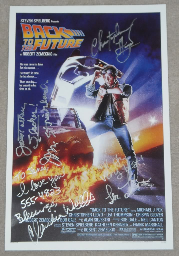 SOLD!!!:  BTTF Signed Mini Poster & License Plate Bttfmi10