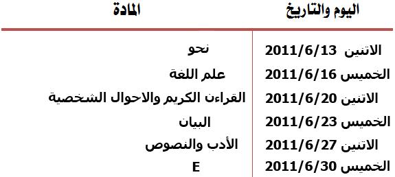 جدول امتحانات الفرق الاربعة كلية دار علوم القاهرة الترم الثانى 2011 Exam211