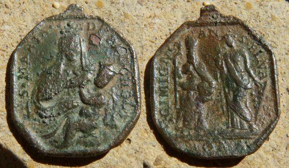 Rare médaille Vierge/Enfant Jésus & San-Gimignano  - XVIIème Medstm10