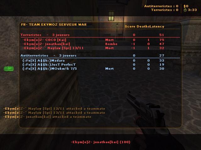 WAR -Ekym[o]Z- VS {:Fø[X]&A$$k:} - ( 18 Ekymoz // 30 {:Fø[X]&A$$k:} ) War1bi10
