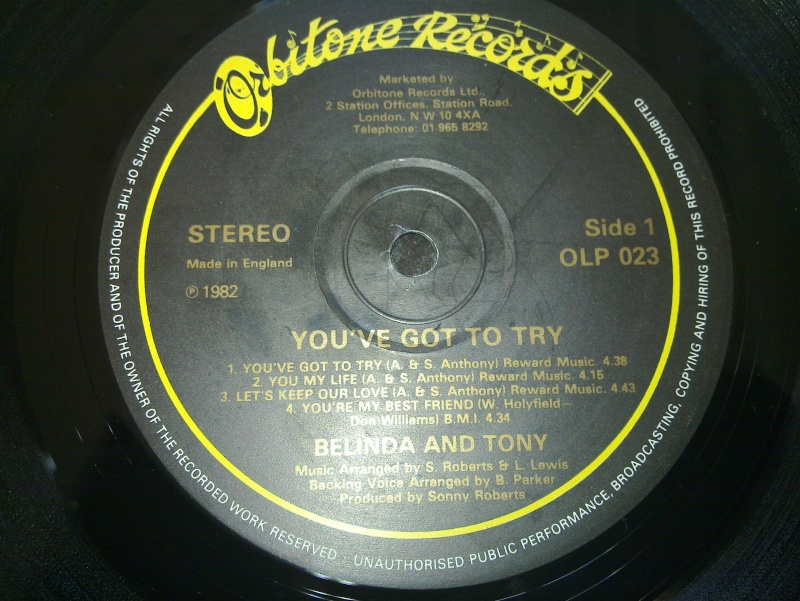LP BELINDA and TONY - you've got try - orbitone records 1982 20090313