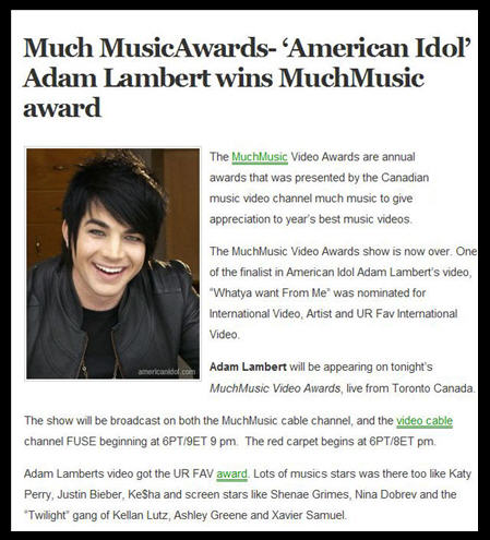 Much Music Awards : 20/6/2010 Adam1110