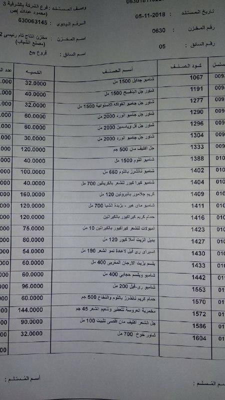 بيان بمنتجات ماي واي التي توفرت اليوم الاثنين 5-11-2018   بفرع الشرقيه 00000013