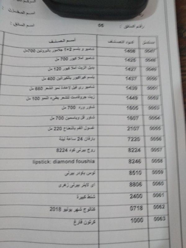 منتجات توفرت اليوم الخميس 19-7-2018   بفرع العجمي 1214