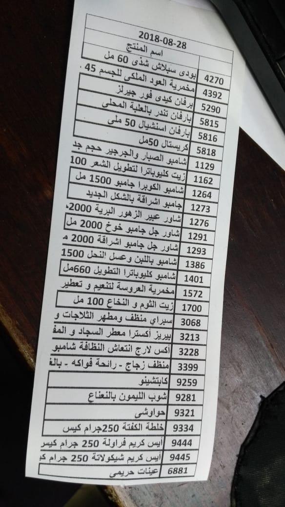 بيان بعربية المنتجات اليوم الثلاثاء 28-8-2018   الي فرع المهندسين 1228