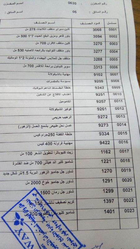 بيان بعربية المنتجات اليوم الثلاثاء 28-8-2018 الي فرع كفر الشيخ 1231
