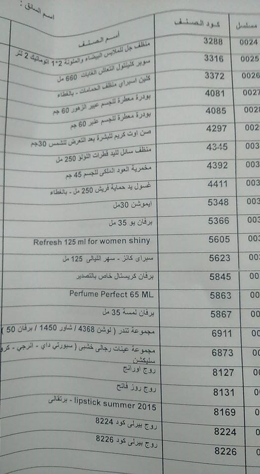 منتجات توفرت اليوم الثلاثاء 3 يوليو 2018   بفرع كفر الشيخ 1423