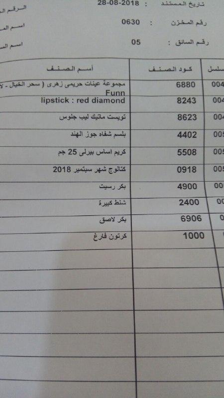 بيان بعربية المنتجات اليوم الثلاثاء 28-8-2018 الي فرع كفر الشيخ 1617