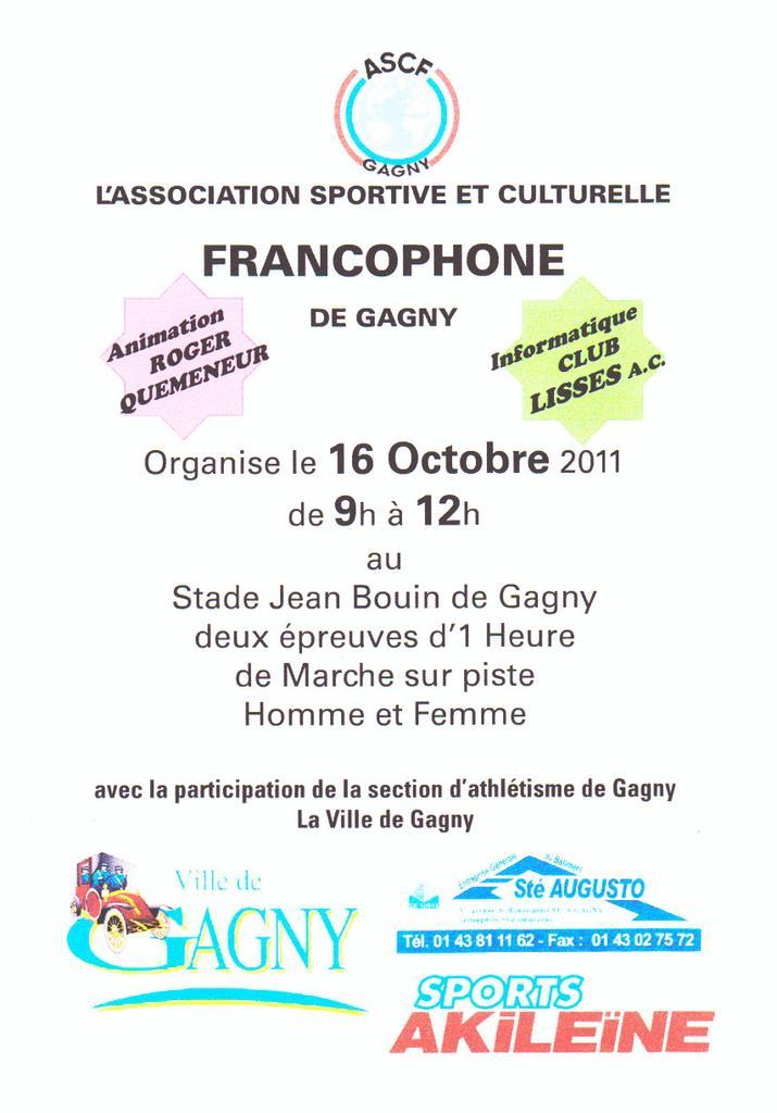 1 HEURE piste à GAGNY  (Seine Saint Denis) 16/10/2011. Franco10