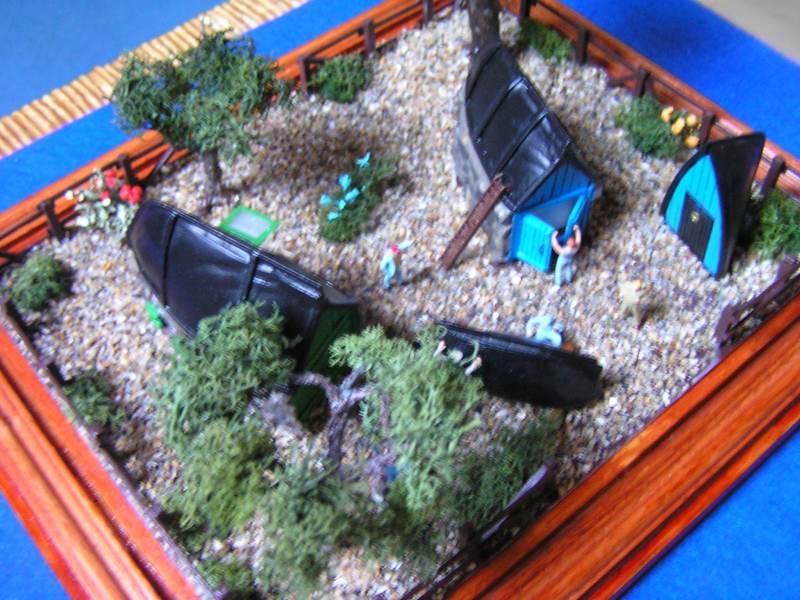 Les cabanes de Pot Rhu  toits en coque de moule Rhu_2010