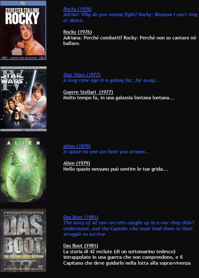 Suggerimenti FILMS M211