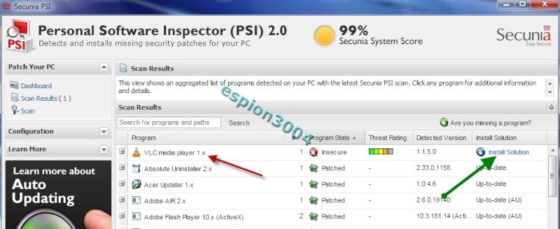 Secunia Personal Software Inspector (PSI) : Contre Les exploits et failles de sécurité dans les logiciels ! 05-06-30
