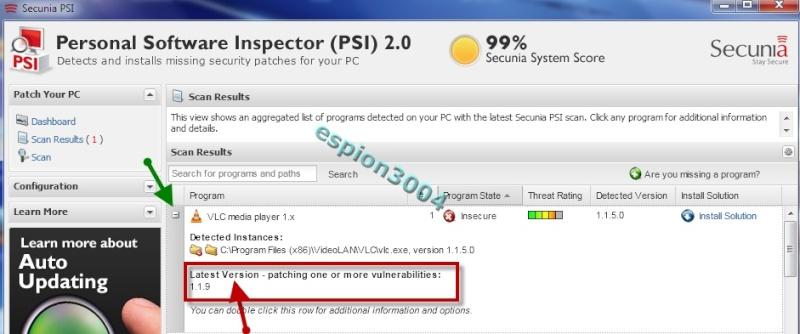 Secunia Personal Software Inspector (PSI) : Contre Les exploits et failles de sécurité dans les logiciels ! 05-06-31