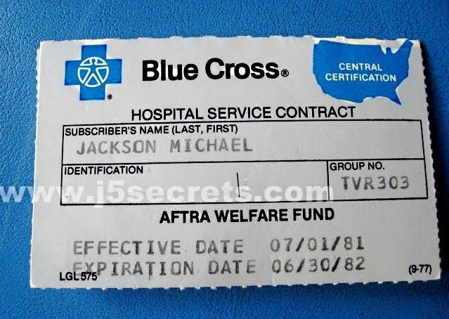 Carterinha do Plano de Saúde de Michael Jackson  Pqaaad10