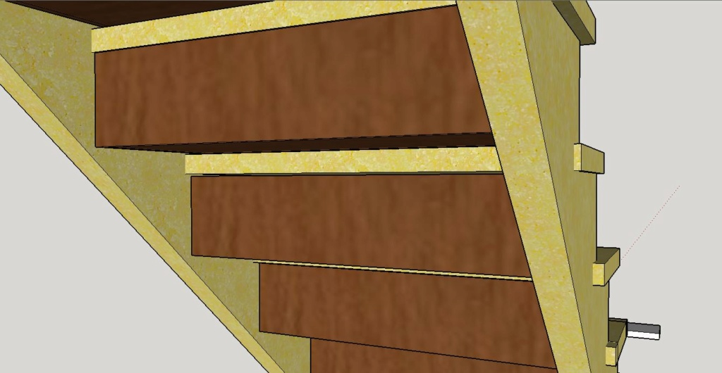 Escalier Droit en Frêne avec tiroirs  Arrier10