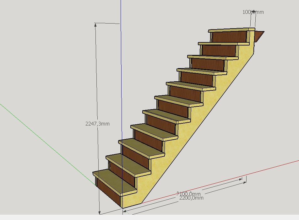 Escalier Droit en Frêne avec tiroirs  Cremai10