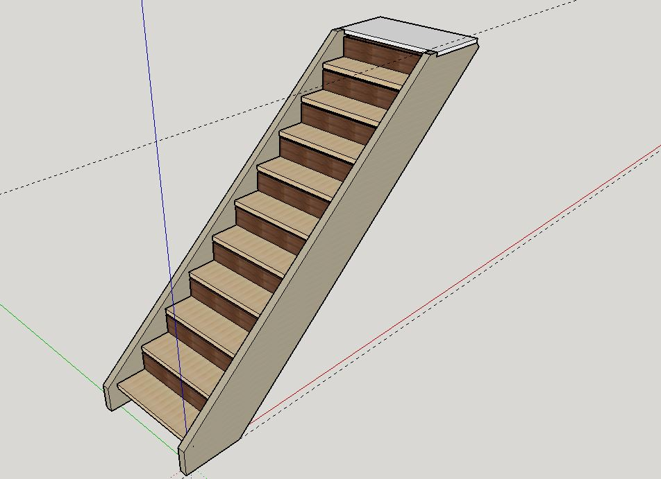 Escalier Droit en Frêne avec tiroirs  Model_10