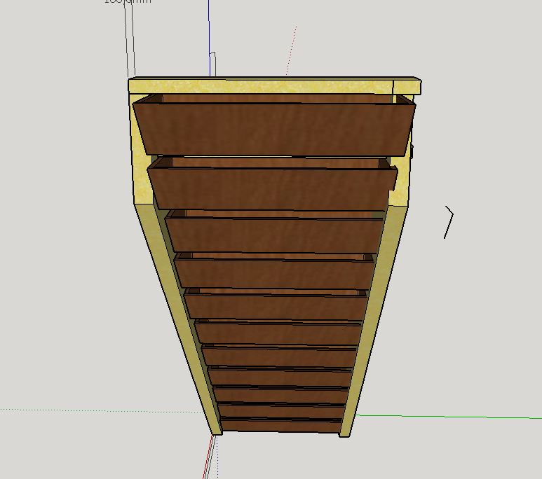 Escalier Droit en Frêne avec tiroirs  Tiroir10