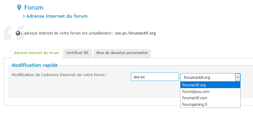[Edge] Modification de l'adresse internet du forum Adress10