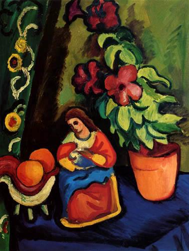 Naturaleza muerta con figura de Madonna, Petunia y manzanas de August Macke 0023-010