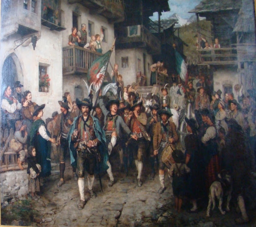 'returning home Tyrolean militia in the war of 1808'. Franz von Defregger   2defre10