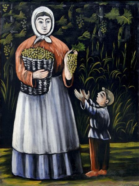 Peasant woman with boy. Niko Pirosmani A-peas10