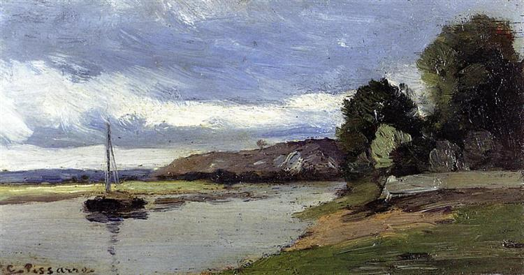 Banco de río con barcaza. Camille Pissarro Banks-10