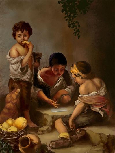 Niños jugando a los dados.  Bartolomé Esteban Murillo  Bartol10