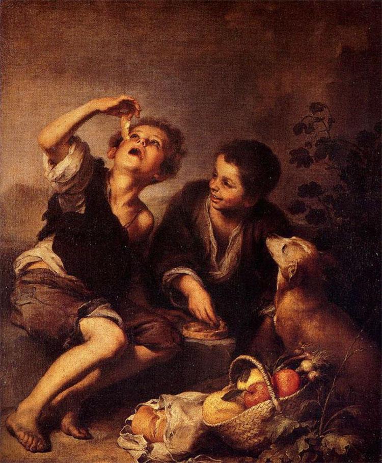 Niños comiendo de una tartera. Bartolomé Esteban Murillo Bartol11