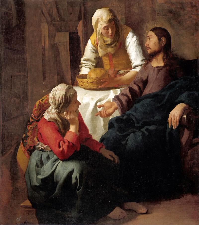 Cristo en casa de Marta y María.  Johannes Vermeer van Delft Cristo12
