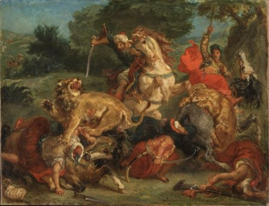 La caza del león. Eugene Delacroix Delacr11