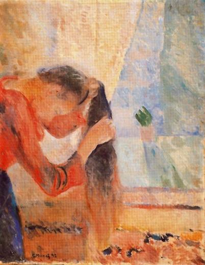 Niña peinándose su pelo. Edvard Munch Girl-c10