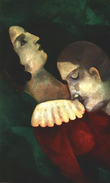 AMANTES EN VERDE. Marc Chagall Lovers10