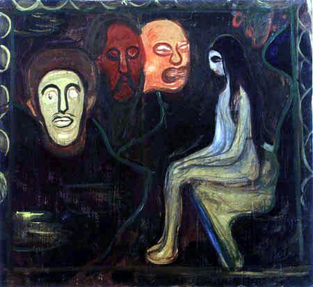 Chica y tres cabezas de hombres. Edvard Munch Maedch10