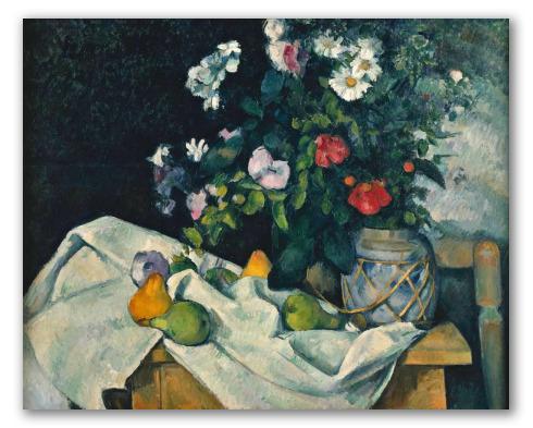 Fleurs dans un pot de gingembre et fruits. Paul Cézanne Natura10