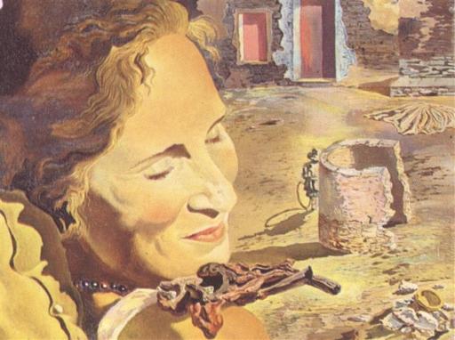 Portrait of Gala with Two Lamb Chops Balanced on Her Shoulder. Salvador Dalí Portra13